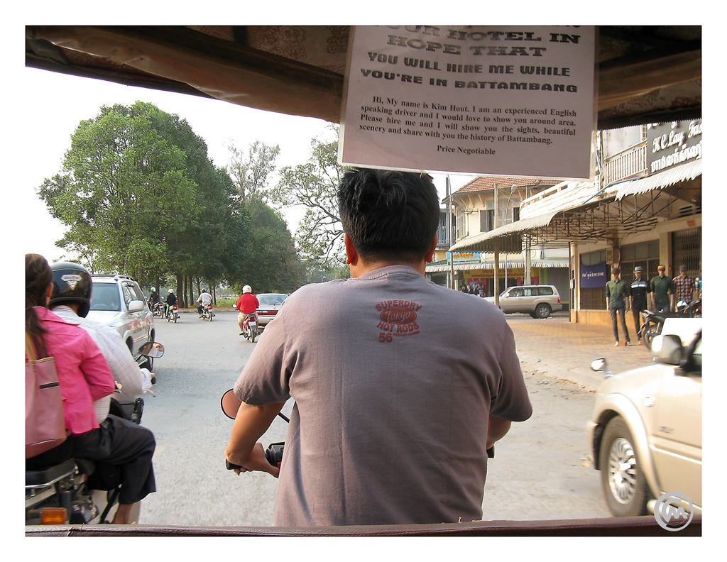 View from Kim Hout's tuk tuk in Battambang, Cambodia