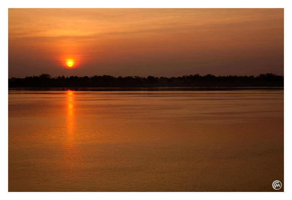 Sunrise over the Mekong where the Irrawaddy dolphin live