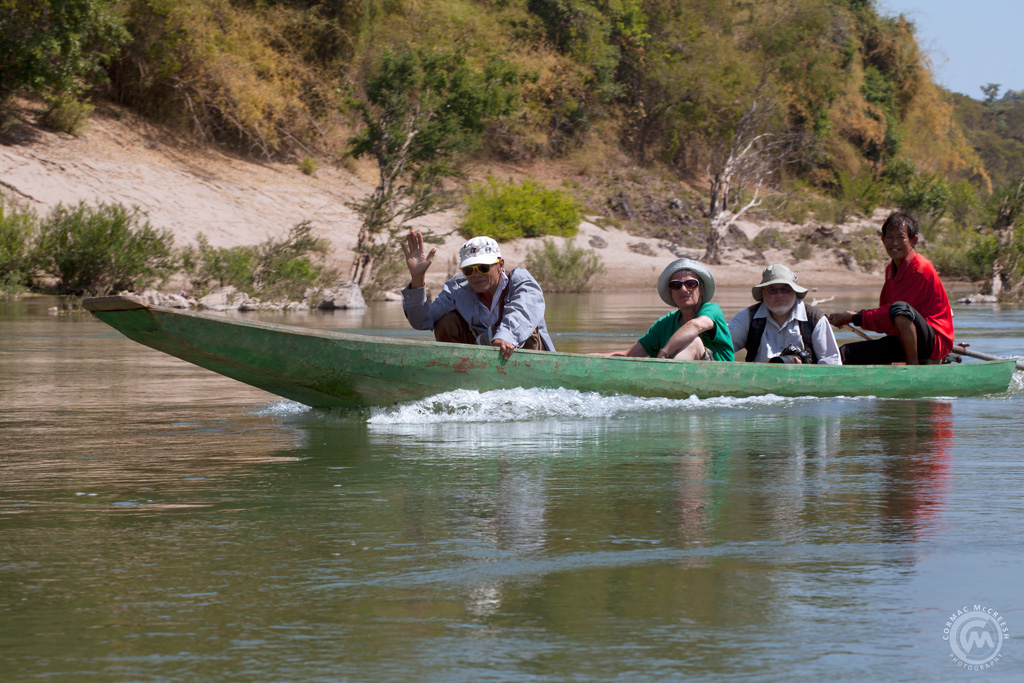Tourists on the Mekong River in Laos