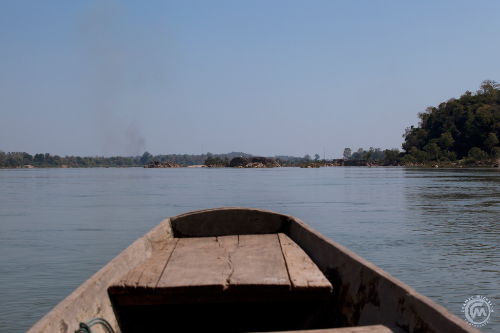 View from a long tail boat on the Mekong river in Laos