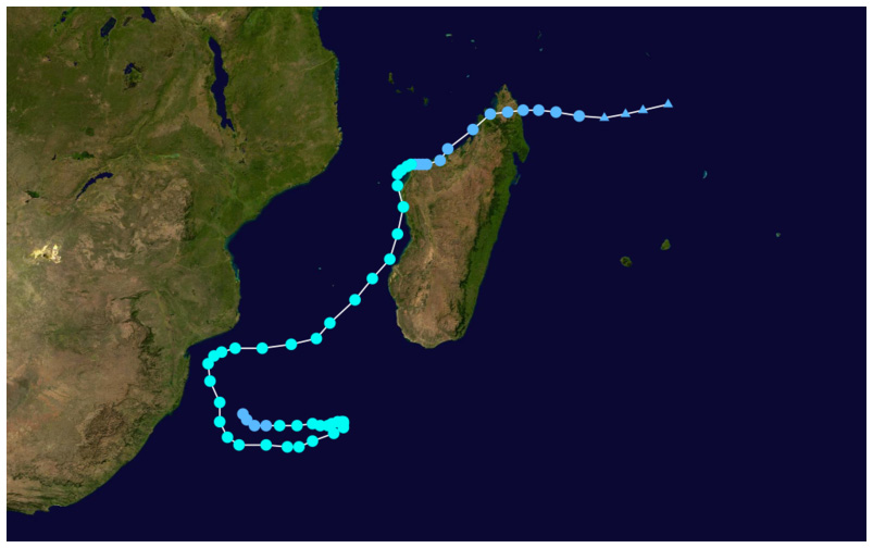 Cyclone Irina's path through the southern Indian ocean