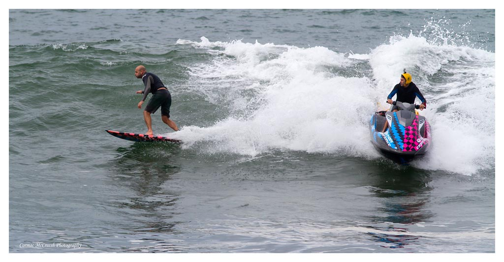 Big wave tow in specialists Jason Ribbink and Clinton Cilliers